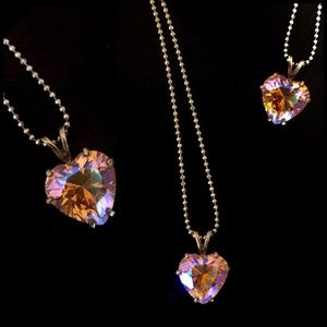 Holographic Crystal Heart Necklace- Bright Colors
